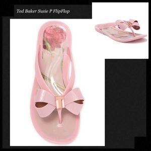 TED BAKER LONDON Pink Bow Gold Logo Flip Flops